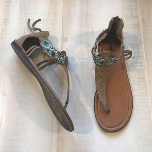 Minnetonka Beaded Leather Flip Flop Sandals 9